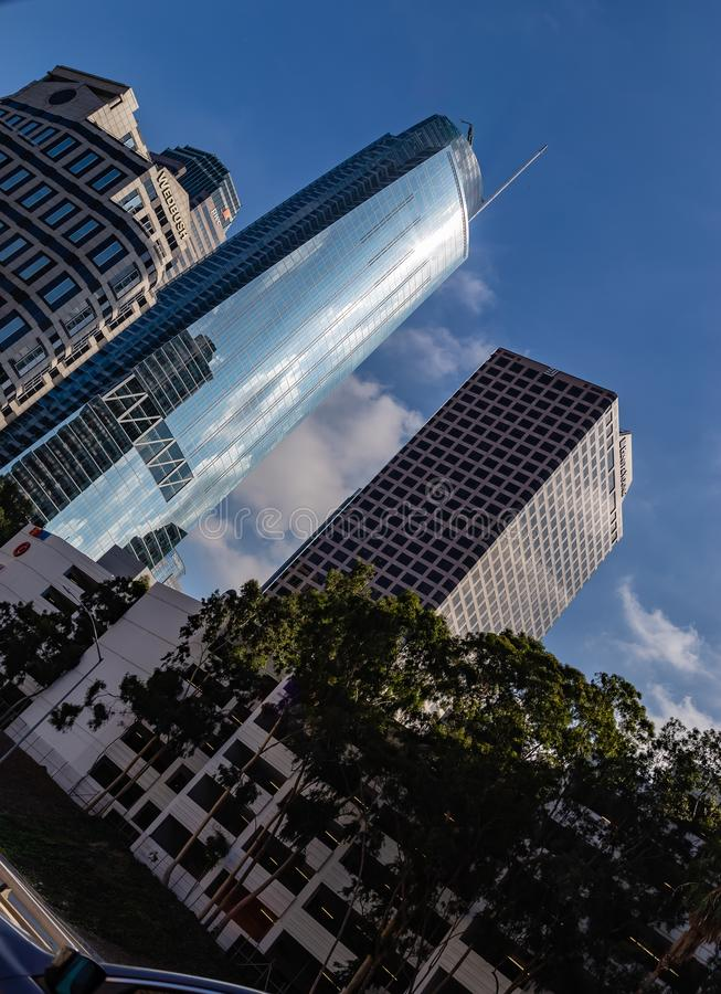 Linia horyzontu pokazuje w centrum budynki Los Angeles Kalifornia zdjęcia royalty free
