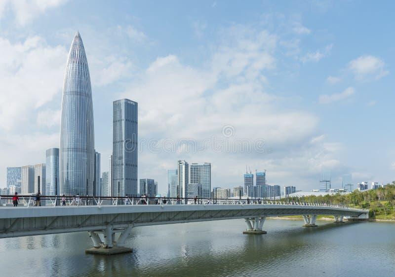 Linia horyzontu Shenzhen miasto, Chiny obrazy royalty free