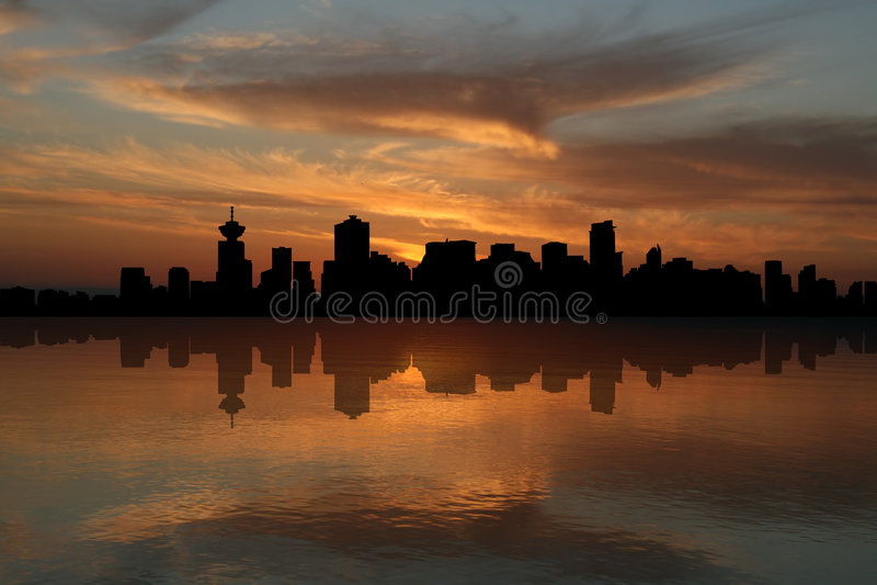 linia horyzontu sunset Vancouver ilustracji