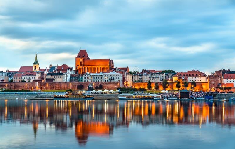 Linia horyzontu Toruński stary miasteczko w Polska zdjęcia royalty free