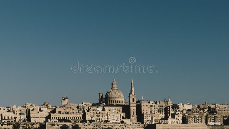 Linia horyzontu Valletta, Malta zdjęcia stock