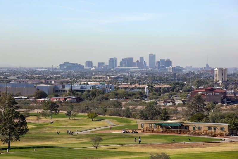 Linia horyzontu w centrum Phoenix, AZ obrazy royalty free