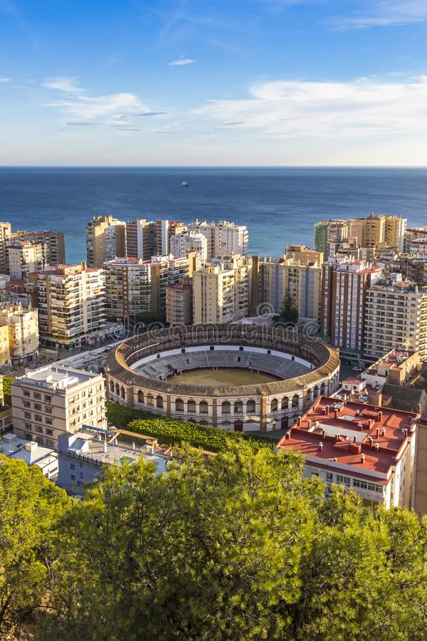 Linia horyzontu widok z lotu ptaka Malaga miasto, Andalusia, Hiszpania obraz stock