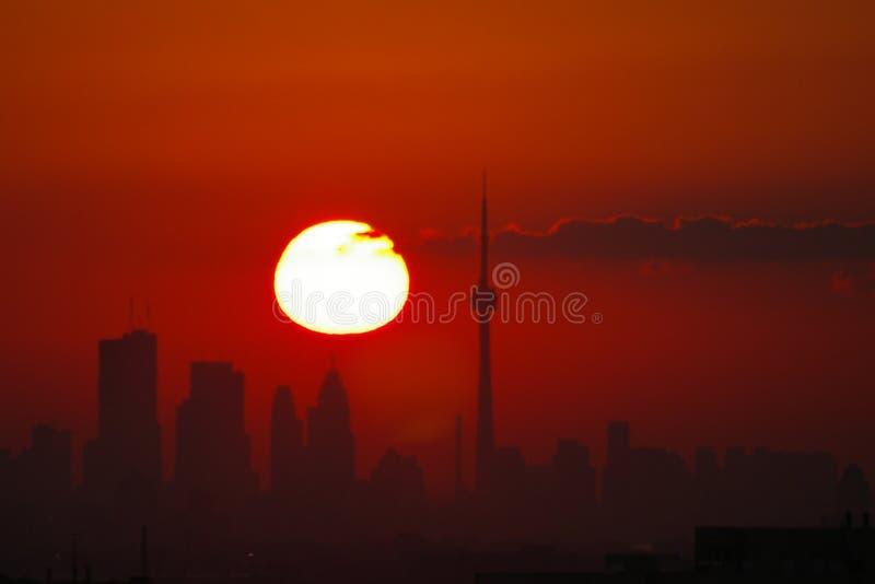 linia horyzontu wschód słońca Toronto obraz royalty free