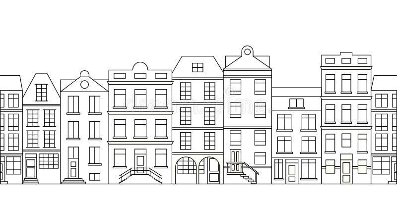 Linia horyzontu z budynkami i domami royalty ilustracja