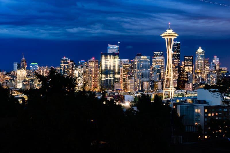linia horyzontu zmierzchu Seattle zdjęcia royalty free