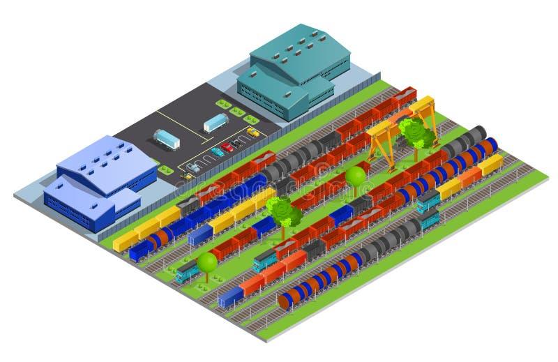 Linia kolejowa ładunku transportu projekta Isometric pojęcie royalty ilustracja