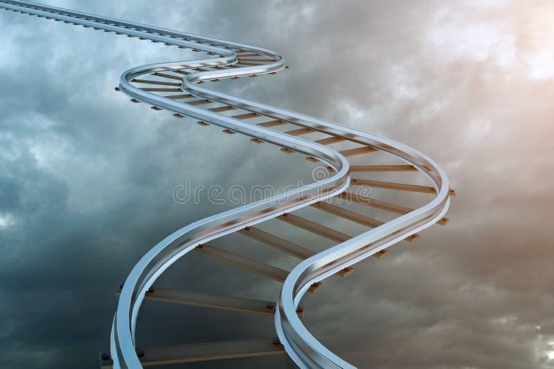 Linia kolejowa i?? up jako schody w niebie sposobno??, droga niebia?ski symbol poj?cia prowadzenia domu posiadanie klucza z?oty s royalty ilustracja