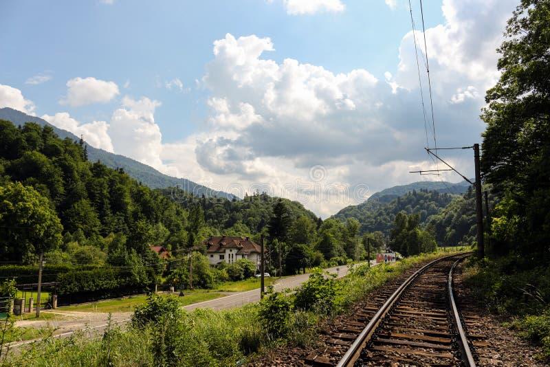 Linia kolejowa krajobraz, Timis Rumunia zdjęcia royalty free