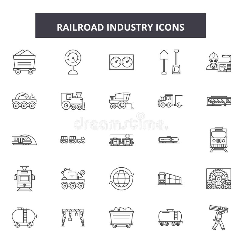 Linia kolejowa przemysłu linii ikony, znaki, wektoru set, kontur ilustracji pojęcie ilustracji
