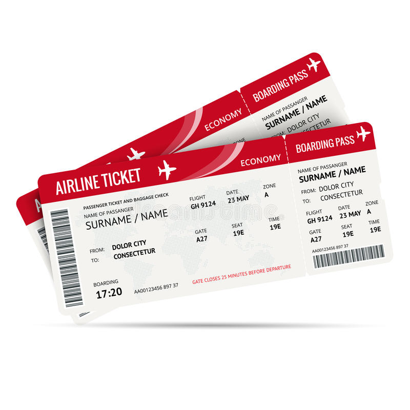 Linia lotnicza abordażu lub bileta przepustka dla podróżować samolotem odizolowywającym na bielu również zwrócić corel ilustracji ilustracji