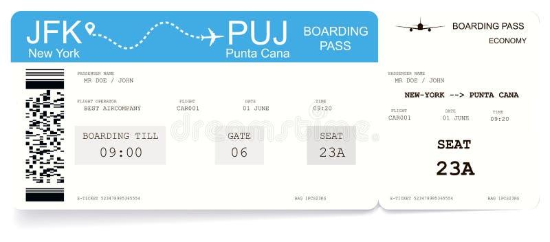 Linia lotnicza abordażu przepustka lub samolotowy bilet ilustracji