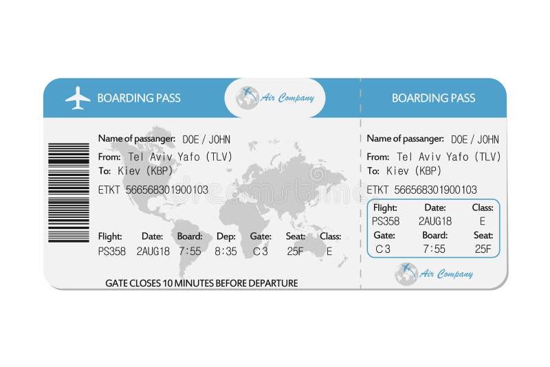 Linia lotnicza abordażu przepustka lub samolotowy bilet wektor ilustracji