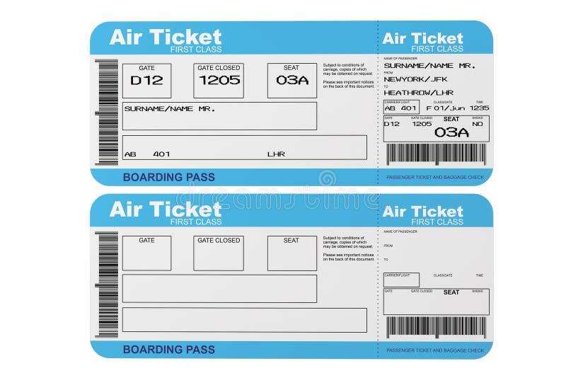 Linia lotnicza abordażu przepustki bilety ilustracja wektor