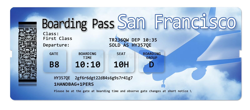 Linia lotnicza abordażu przepustki bilety San Francisco - zawartość wizerunek kompletnie no zawierają i wynajdowć obrazy royalty free