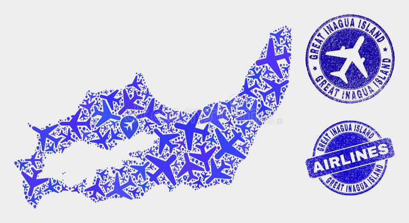 Linia lotnicza kolażu Inagua wyspy Grunge i mapy Wektorowi Wielcy znaczki ilustracja wektor