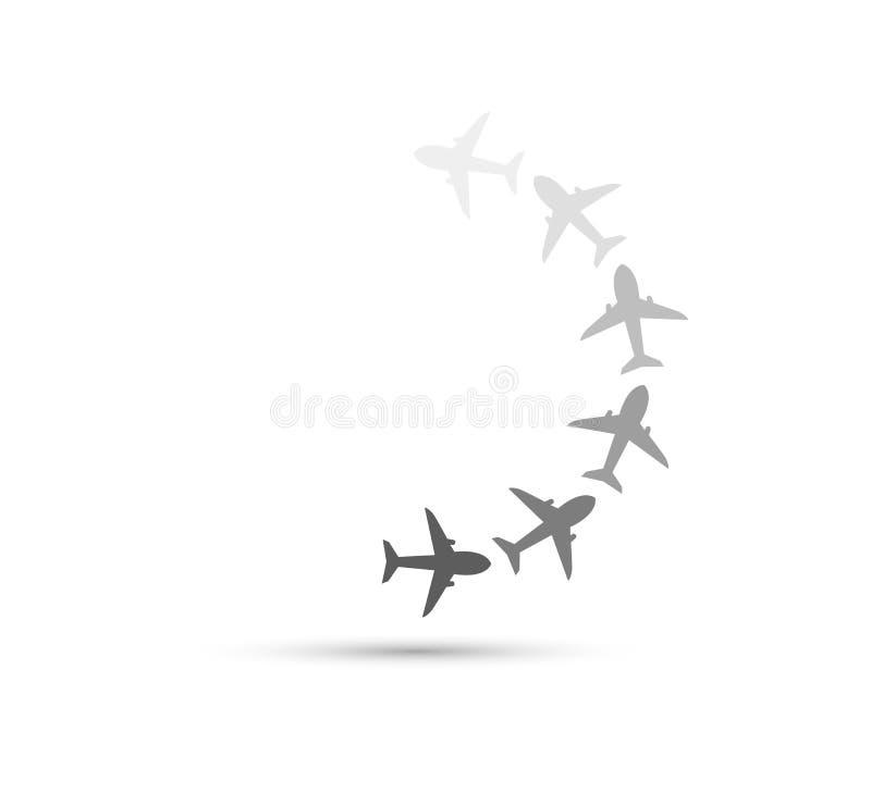 Linia lotnicza lota ścieżki Płaska ikona ilustracji