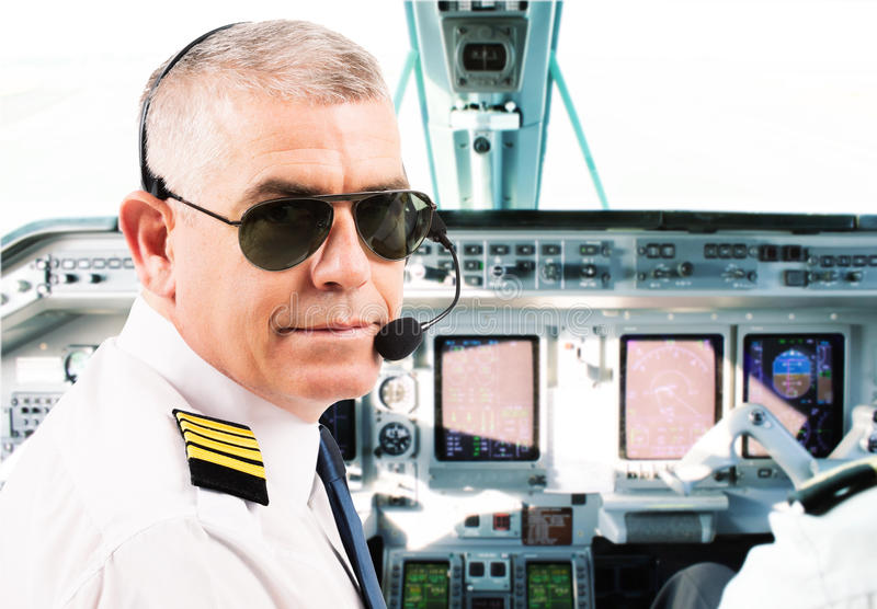 Linia lotnicza pilot obrazy stock