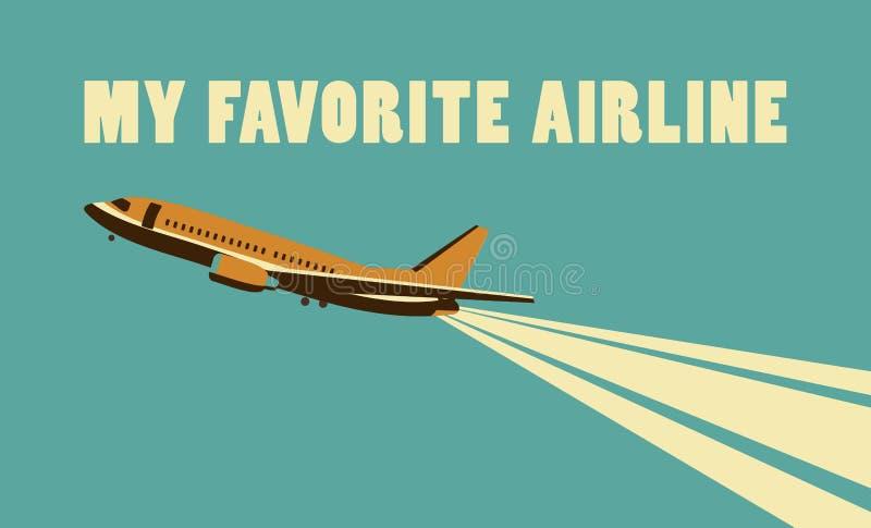 Linia lotnicza retro plakat ilustracja wektor