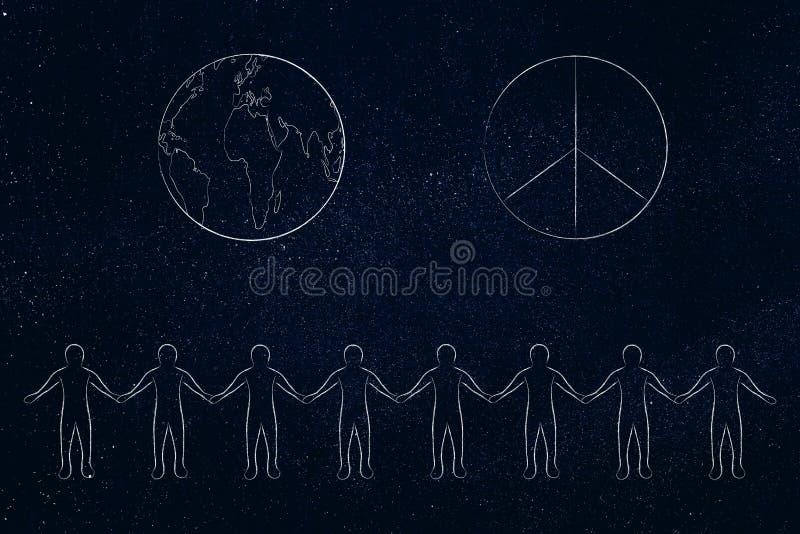 Linia ludzie trzyma ręki i świat z pokoju symbolem nad t ilustracja wektor