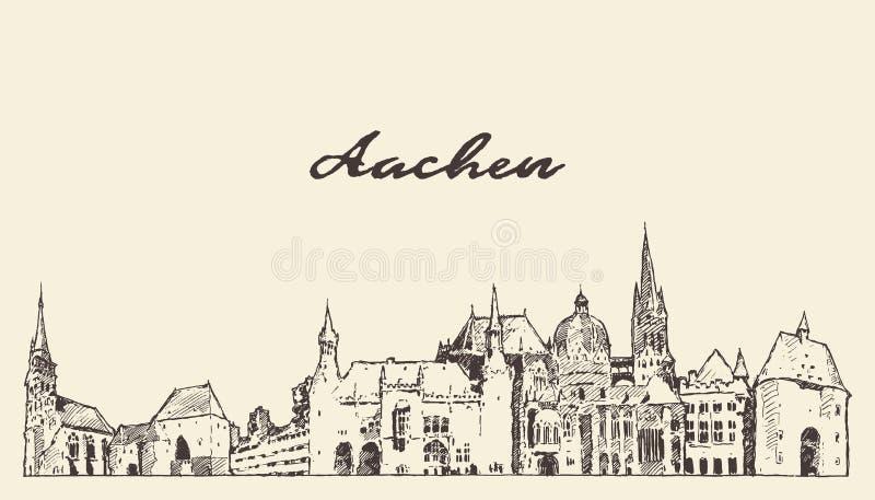 Linia narciarska Aachen Nadrenia Północna Westfalia Niemcy ilustracji