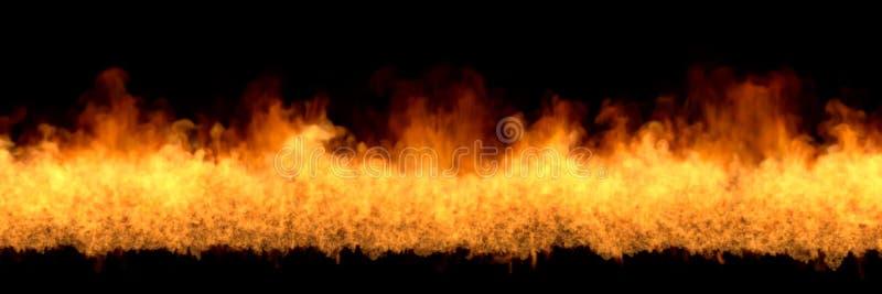 Linia ognia przy dnem - pożarnicza 3D ilustracja wizjonerski ognisty ogień, sylized rama odizolowywająca na czarnym tle royalty ilustracja