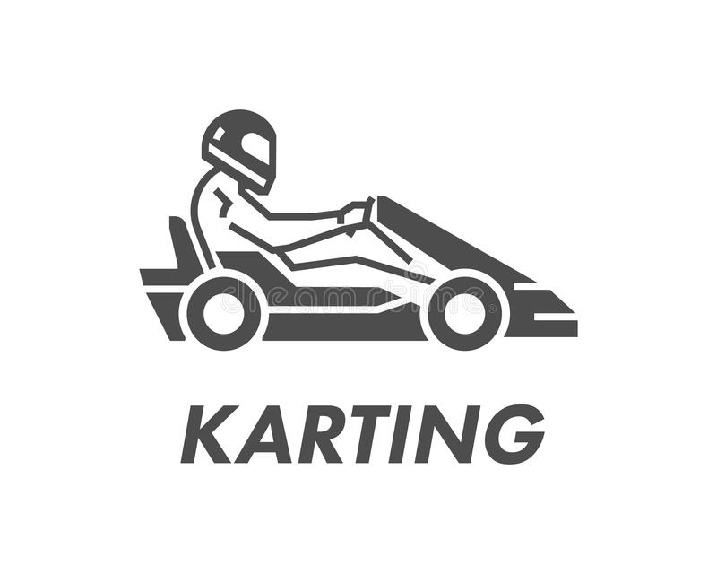 Linia, płaski karting logo i symbol Sylwetka oblicza karta r ilustracja wektor