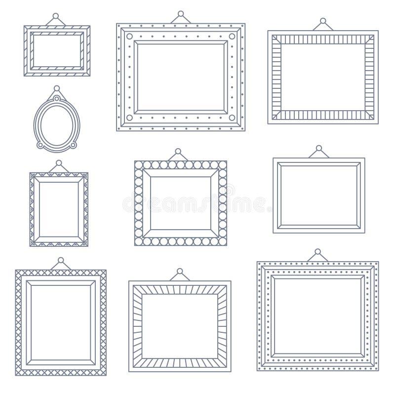 Linie Art Frame Foto Picture Painting-Dekorations-Zeichnungs-Symbol-Schablonen-Ikone eingestellt auf stilvollen schwarzen Hinterg lizenzfreie abbildung