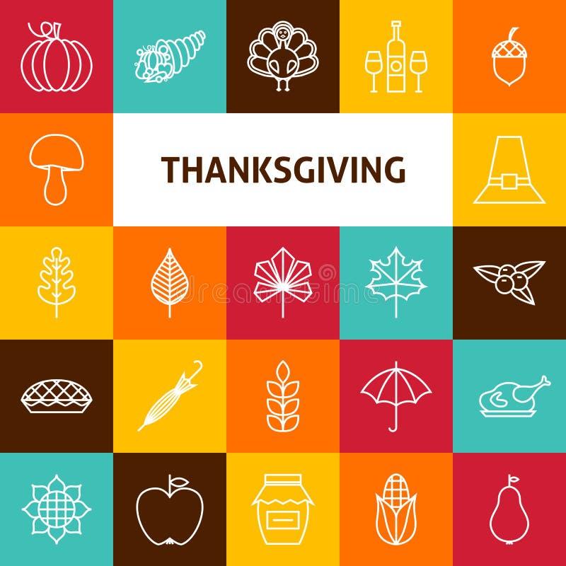 Linie Art Thanksgiving Day Holiday Icons-Satz lizenzfreie abbildung