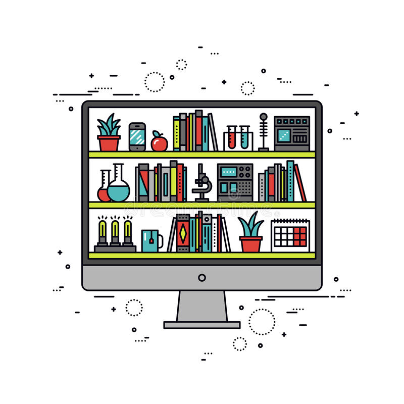Linie Artillustration des computerunterstützten Unterrichts lizenzfreie abbildung