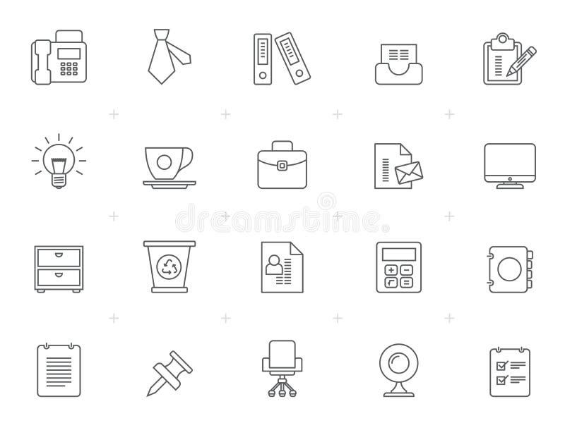 Linie Büro und Geschäfts-Netz-Ikonen stock abbildung
