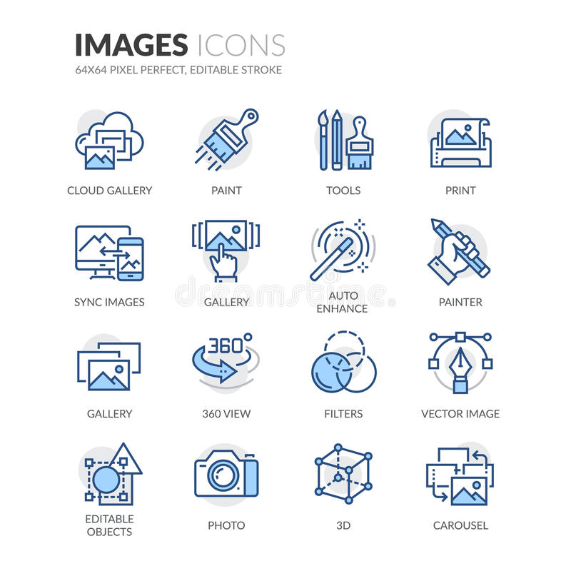 Linie Bild-Ikonen lizenzfreie abbildung