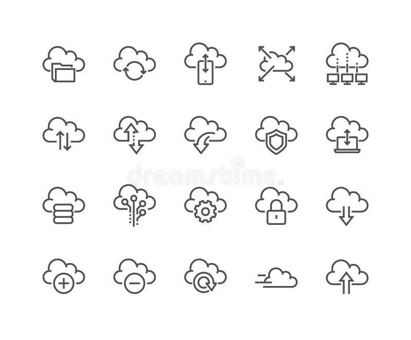 Linie Computer-Wolken-Ikonen stock abbildung