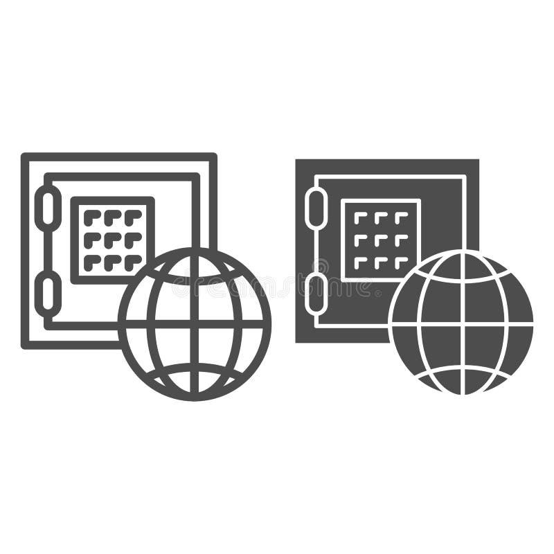 Linie der globalen Wirtschaft und Glyphikone Sichere Kasten- und Planetenvektorillustration lokalisiert auf Weiß Einsparungenssch lizenzfreie abbildung