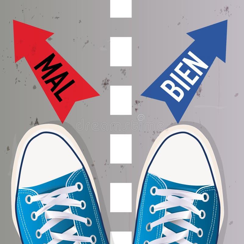 Linie der Trennung zwischen Gut und Böse Die Wahl zwischen zwei Lösungen vektor abbildung