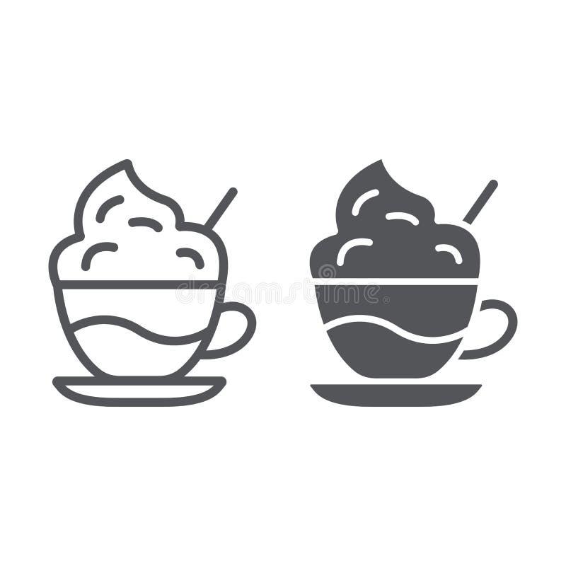 Linie des Kaffees mit Sahne und Glyphikone, Kaffee und Schale, Kaffee mit Schaumzeichen, Vektorgrafik, ein lineares Muster auf a vektor abbildung