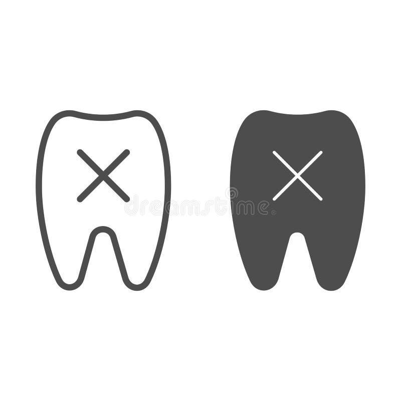 Linie des losen Zahnes und Glyphikone Fehlende Zahnvektorillustration lokalisiert auf Weiß Zahnheilkundeentwurfs-Artentwurf stock abbildung