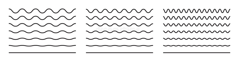 Linie deseniu zygzaku linii fali i falistej. Czarny wektor podkreśla, gładkie kędzierzawe kęsy royalty ilustracja
