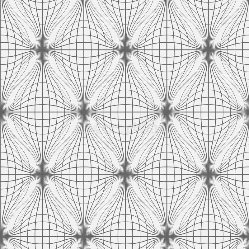 Linie deseniują w technika stylu Monochromatyczny bezszwowy falisty netto tło ilustracja wektor