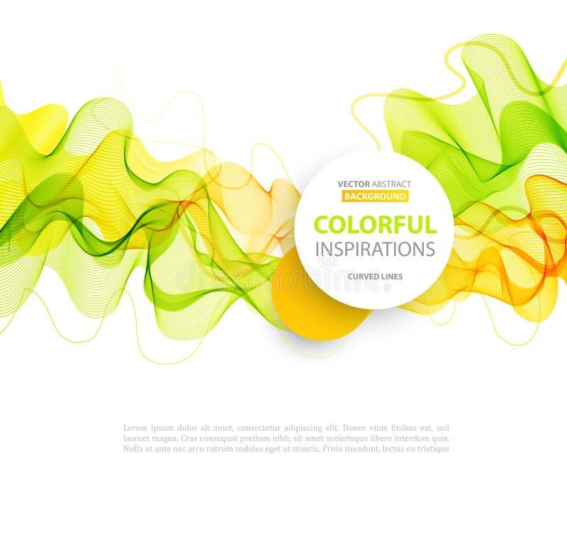 Linie Design der orange und grünen Welle lizenzfreie abbildung
