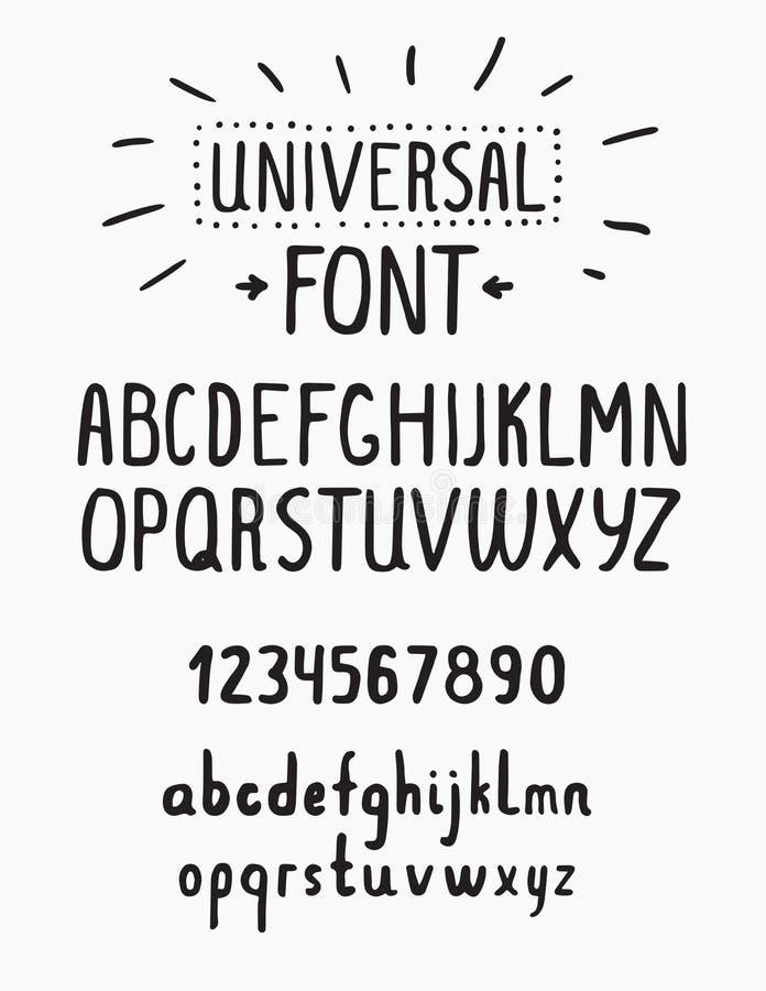 Linie einfacher Guss Universal- Alphabet mit kleinem und Haupt-lett vektor abbildung