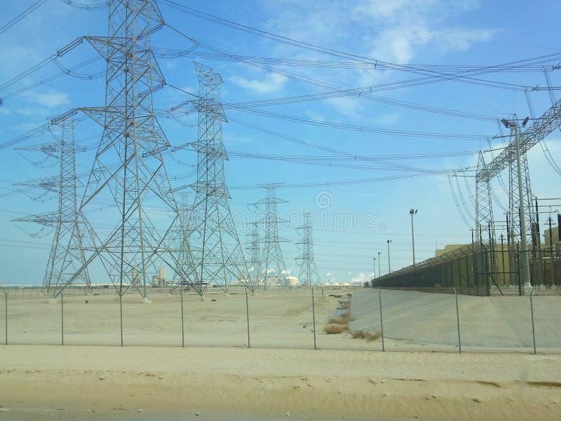 Linie energetyczne przy Arabia Saudyjska fotografia royalty free