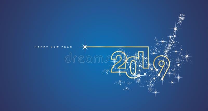 Linie Entwurfsfeuerwerkschampagnergoldglänzende weiße blaue Vektor-Grußkarte des neuen Jahres 2019 lizenzfreie abbildung