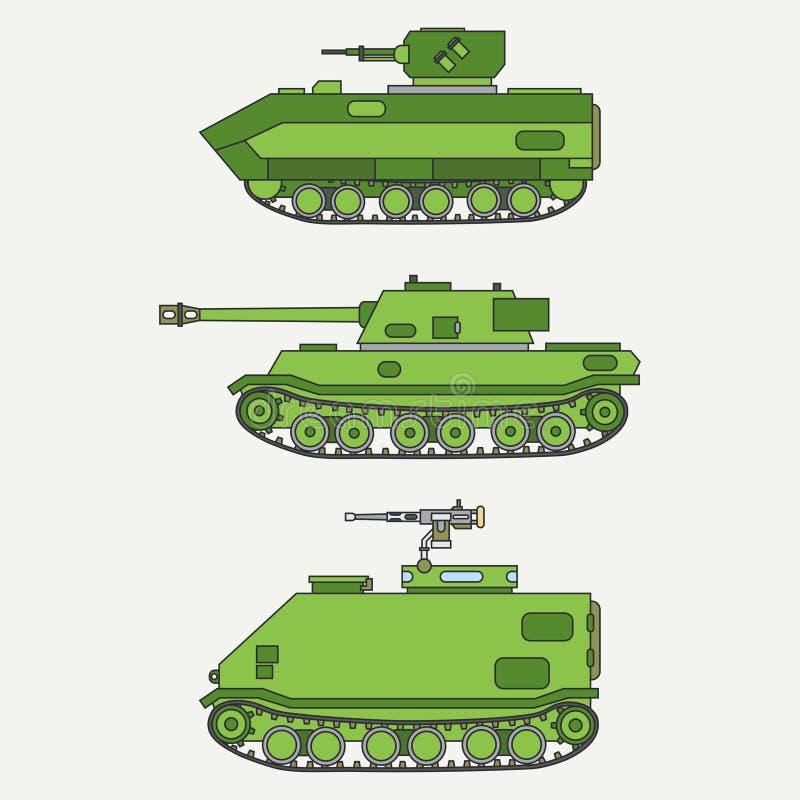 Linie gesetzte Infanterie der flachen Farbvektor-Ikone greifen Armeebehälter an Militärfahrzeug Karikaturweinleseart soldaten gep lizenzfreie abbildung