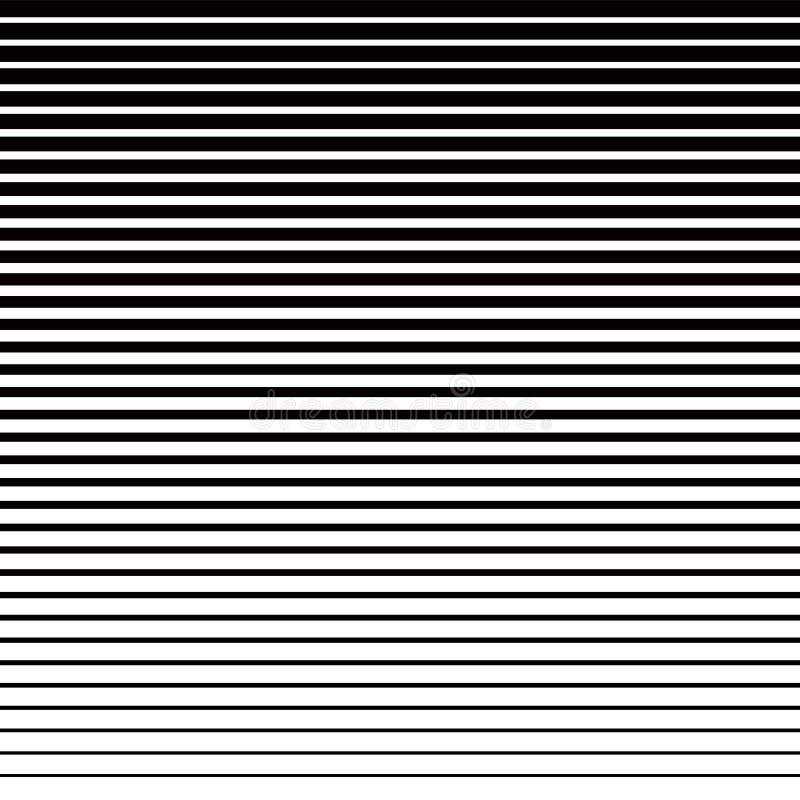 Linie Halbtonmuster mit Steigungseffekt Horizontale Linien in Schwarzweiss Schablone f?r Hintergr?nde und stilisiert lizenzfreie abbildung
