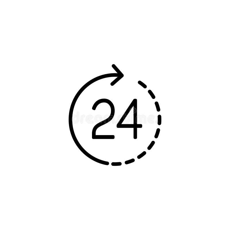 Linie halten rund um die Uhr Ikone auf weißem Hintergrund instand stock abbildung