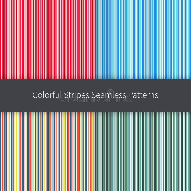 Linie Hintergründe eingestellt Gelbe und weiße Streifen des roten rosa orange blauen Grüns vector nahtloses Muster stock abbildung
