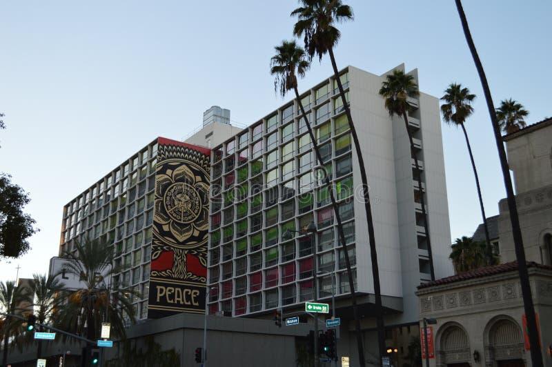 Linie Hotel Los Angeles mit Friedensfahne lizenzfreie stockfotografie