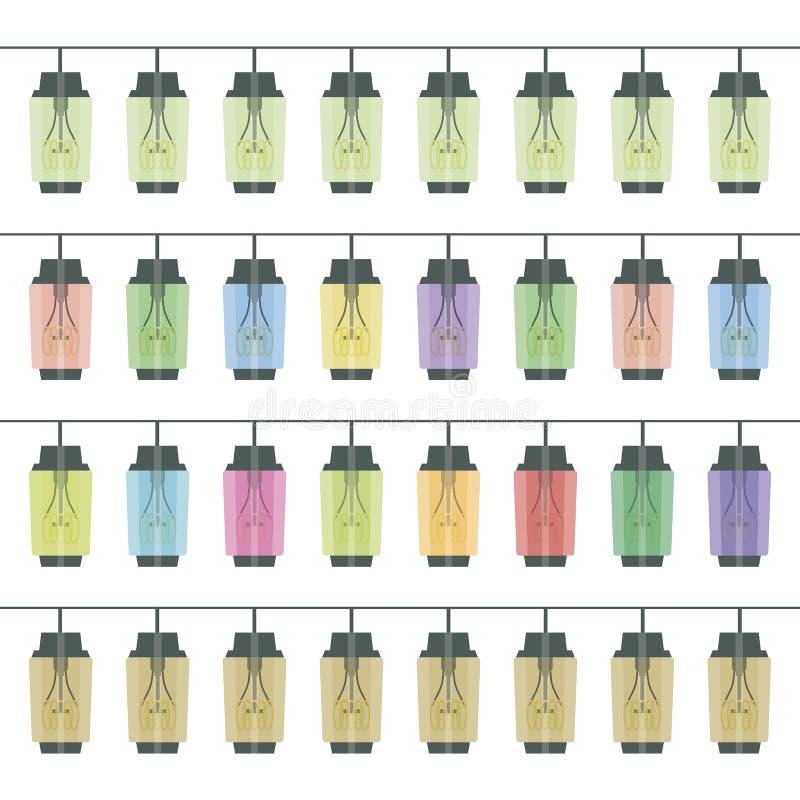 Linie i wielo- paskują girlandy przybranie park płonącego Edison rocznika retro prostokątni lampiony kolor ilustracji
