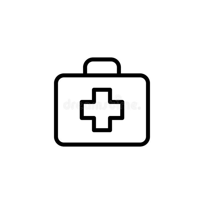 Linie Ikone der ersten Hilfe auf weißem Hintergrund stock abbildung